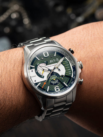 STEEL MILITARY GREEN DUAL RETROGRADE CHRONOGRAPH 1