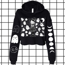 Load image into Gallery viewer, Grid Witch Crop Top Hoodie