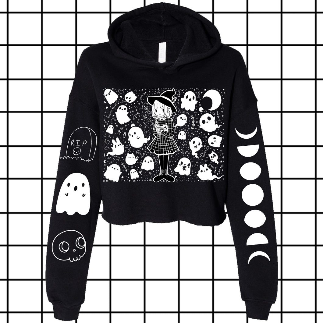 Grid Witch Crop Top Hoodie