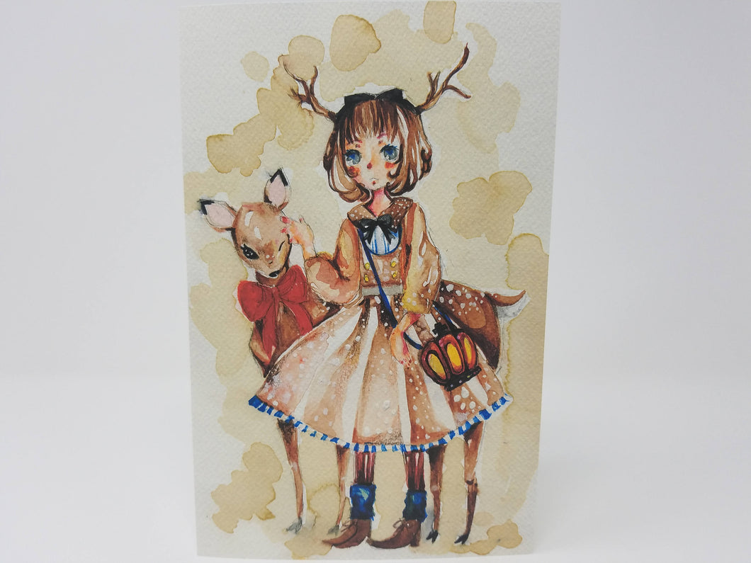 Deer Girl Greeting Card