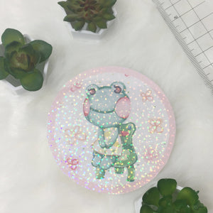 Lily on a froggy chair holographic sticker