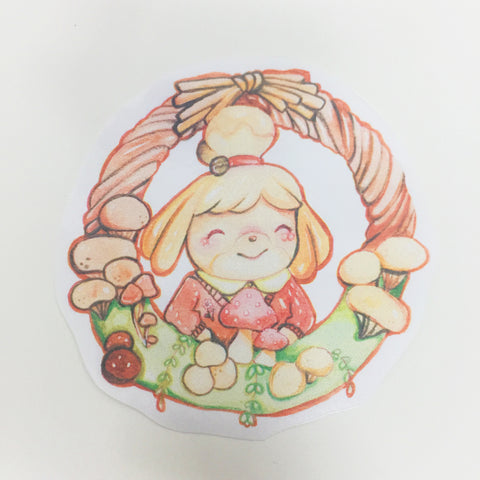 Isabelle mushroom wreath handcut sticker