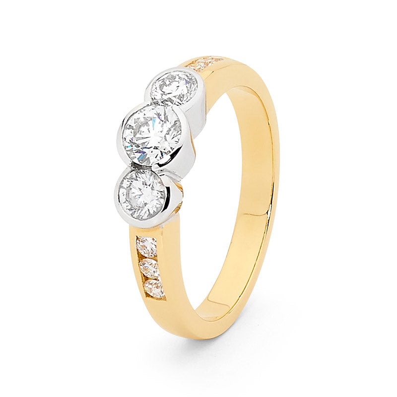 18ct Gold, Brilliant Cut Trilogy Diamond Engagement Ring, 0.80ct TDW.