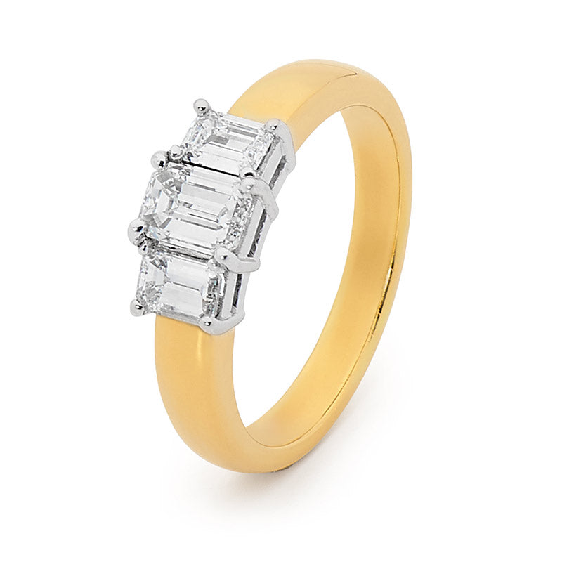 18ct Gold, Emerald Cut Trilogy Diamond Engagement Ring, 1.00ct TDW.