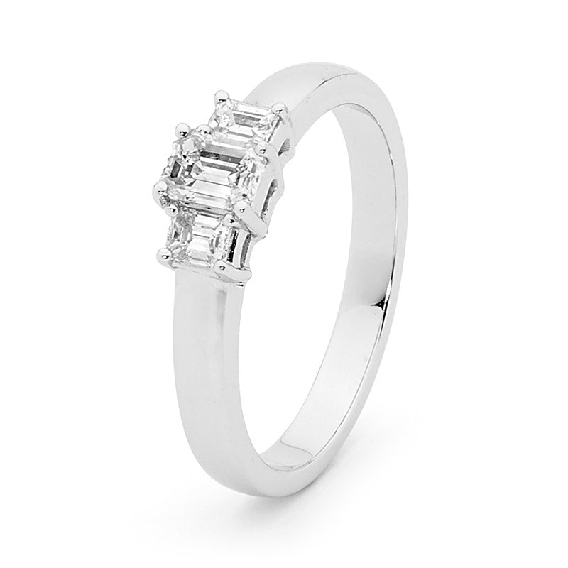 18ct Gold, Emerald Cut Trilogy Diamond Engagement Ring, 0.50ct TDW.