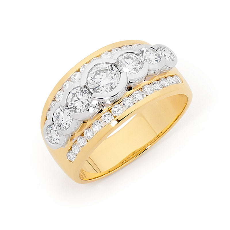 3 Row 18ct Gold Diamond Dress Ring, 1.50ct TDW.