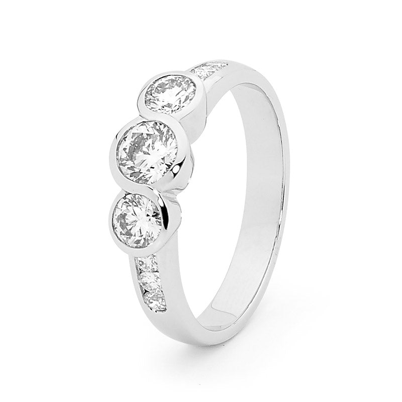 18ct Gold, Brilliant Cut Trilogy Diamond Engagement Ring, 0.78ct TDW.