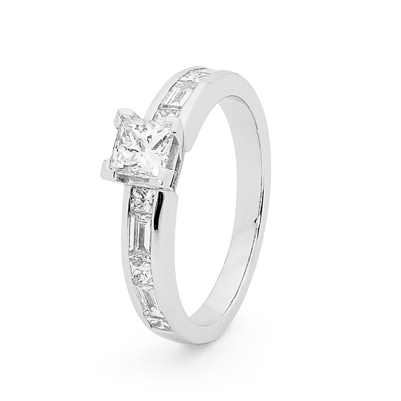 Princess Cut Shoulder Solitaire Diamond Engagement Ring, 1.22ct TDW.