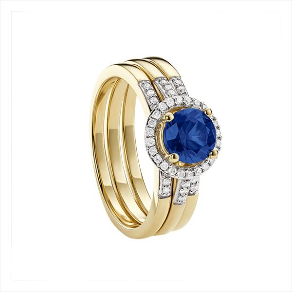 9ct Yellow Gold created Sapphire 3 piece Bridal Ring Set