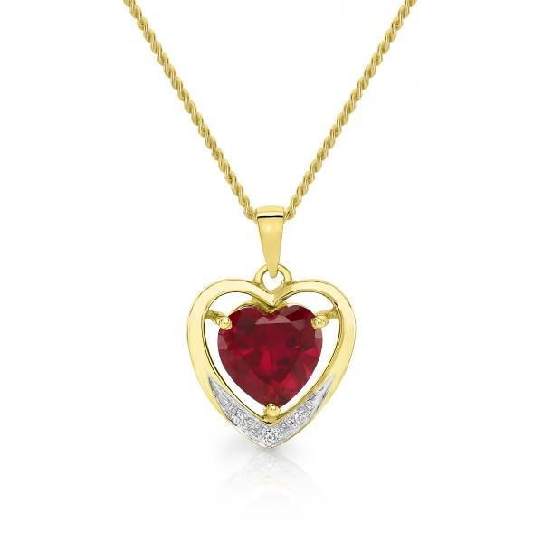 9ct gold created ruby and diamond pendant