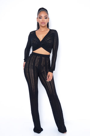 After Hour Two Piece Pant Set - Black