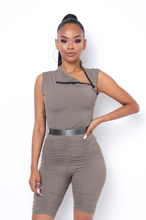Road Trip Two Piece Short Set - Taupe