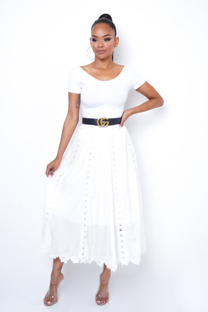 Lacey Maxi Skirt - White