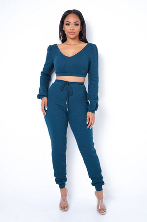 Jennifer Two Piece Pant Set - Teal