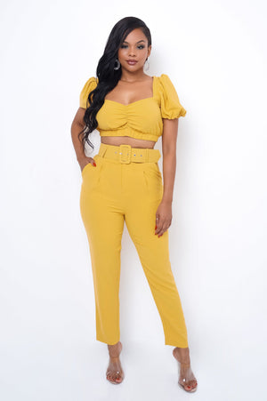 Talia Two Piece Pant Set - Mustard