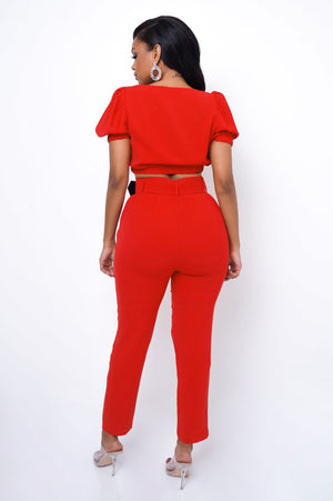 Talia Two Piece Pant Set - Red