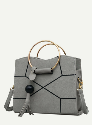 Ring Handle Geometric Bag With Tassel