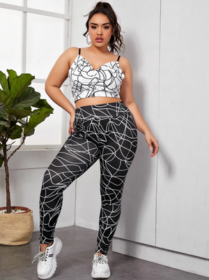 Plus Geo Print Ruched Cami Top & Leggings