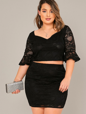 Plus Flounce Sleeve Lace Overlay Top and Skirt Set