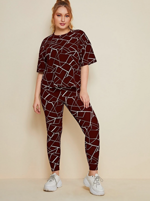 Plus Drop Shoulder Geo Print Top & Leggings Set