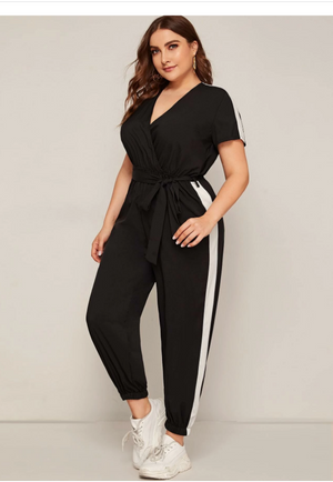 Plus Tape Side Surplice Belted Jumpsuit