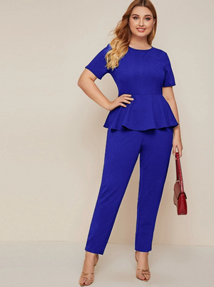 Zip Back Solid Peplum Jumpsuit