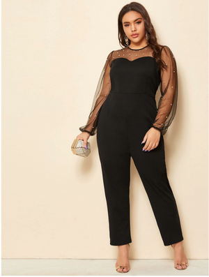 Plus Mesh Panel Pearls Decoration Jumpsuit