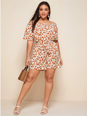 Plus Floral Print Off Shoulder Belted Romper