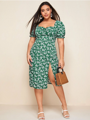 Plus Sweetheart Neck Split Hem Ditsy Floral Print Dress
