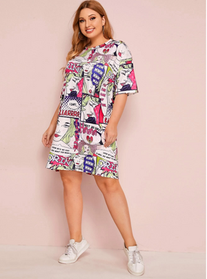 Plus Pop Art Print Tee Dress