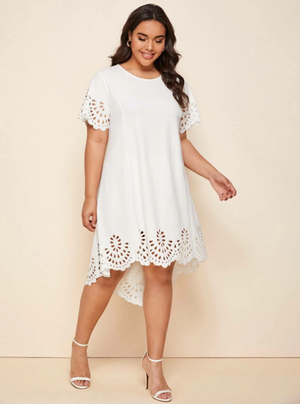Plus Scallop Trim Laser Cut High Low Dress