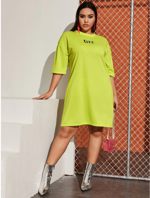 Plus Letter Graphic Drop Shoulder Tee Dress