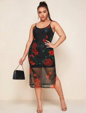 Plus Split Side Floral Mesh Overlay Dress