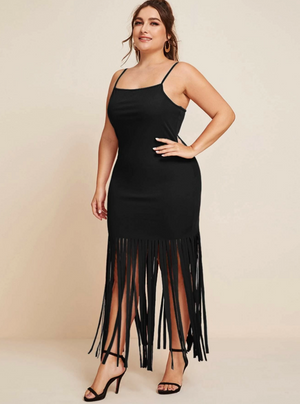 Plus Fringe Hem Cami Dress