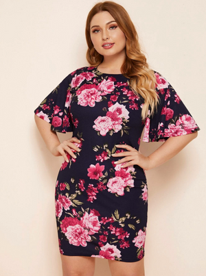 Plus Flutter Sleeve Floral Dress