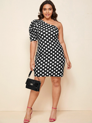 Plus One Shoulder Puff Sleeve Polka Dot Dress