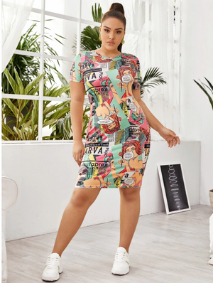 Plus Pop Art Print Bodycon Dress