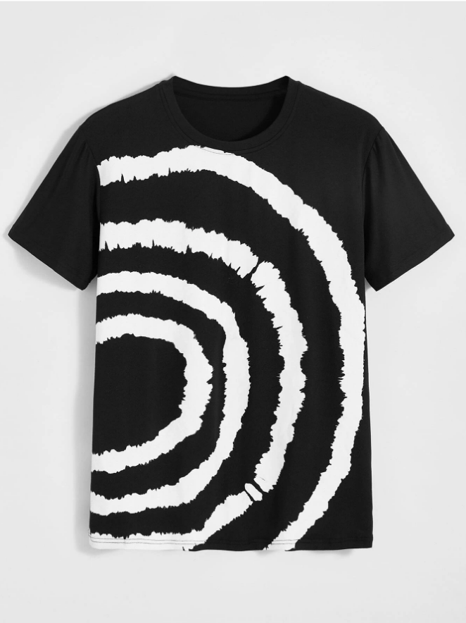 Men Geo Graphic Round Neck Tee