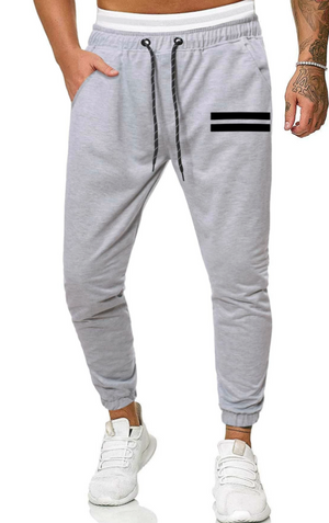 Men Striped Drawstring Waist Sweatpants