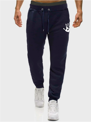 Men Hand Print Drawstring Waist Sweatpants