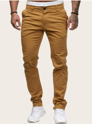 Men Solid Button Waist Pants