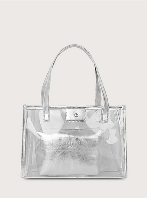 Transparent Letter Graphic Tote Bag With Inner Pouch