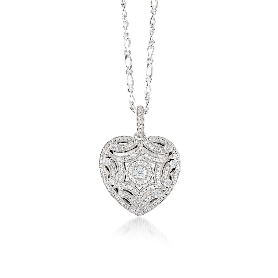 Locket coeur en filigrane scintillante