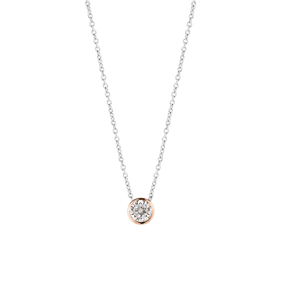 TI SENTO Collier zircon solitaire contour or rose