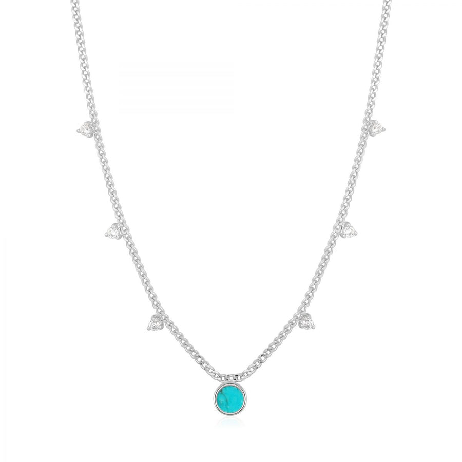 Collier disque turquoise 17-19