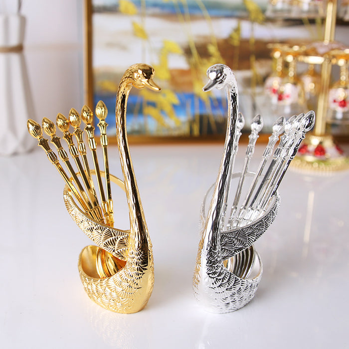 Gold&silver Fruit fork Coffee spoon Creative Home Insert European Swan Tableware