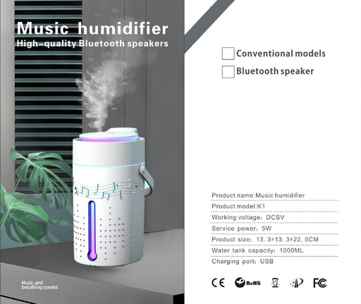 USB Music humidifier household high-quality bluetooth speakers seven color disinfection aromatherapy machine