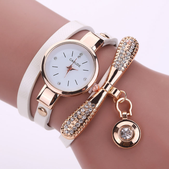 Thin band winding ladies watch bow studded plaid PU band winding table quartz watch