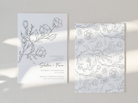 line sketch drawing flora invitation card