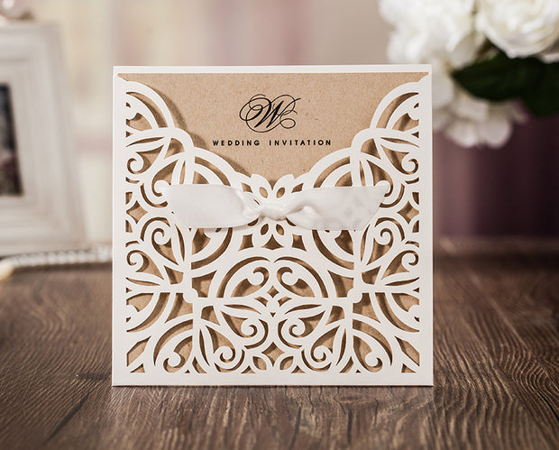 Wedding Invitation Card--6179CW-Rustic white - Wforwedding